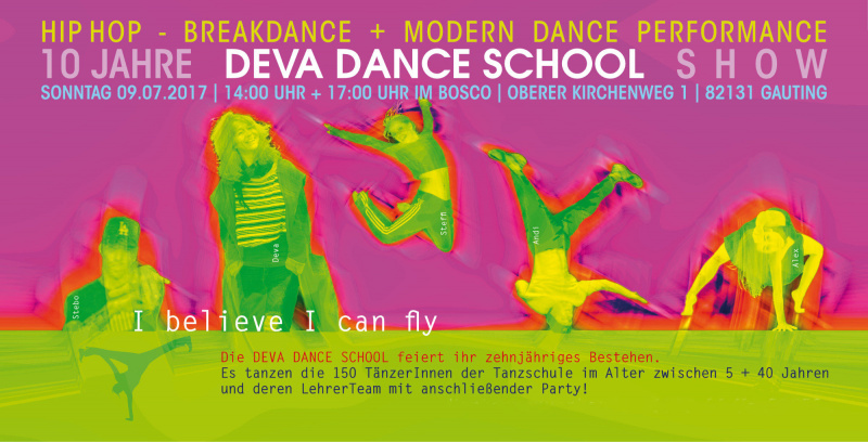 Plakat 10 jahre Deva Dance School - I believe I can fly